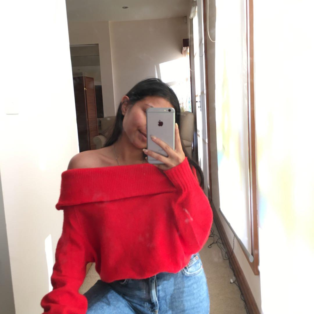 Red Fluffy off the shoulder sweater / jumper / top