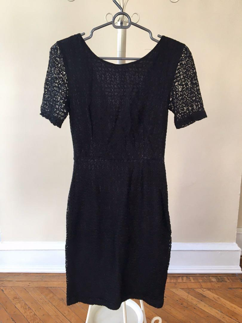 Reiss black lace Kate middle v back work evening cocktail fancy designer dress size 7