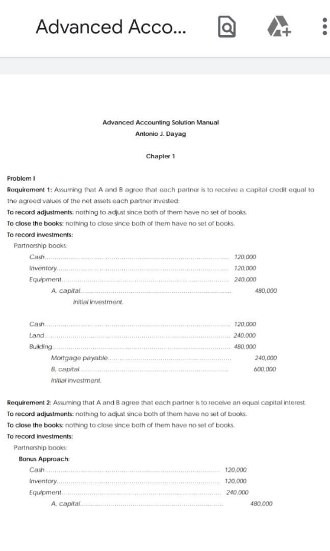 [SOLMAN] Advanced Accounting 1 (AFAR) Book solman by Dayag [2014 edition]