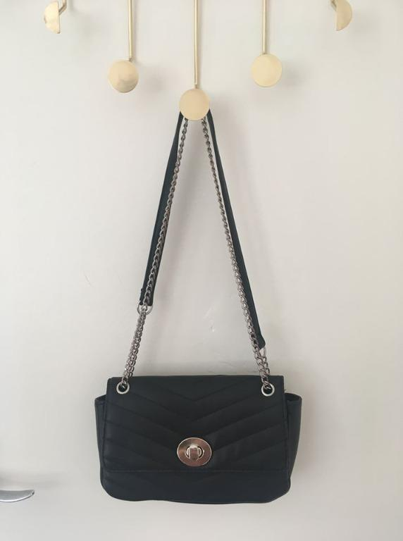 Stradivarius Black small handbag with shoulder chain