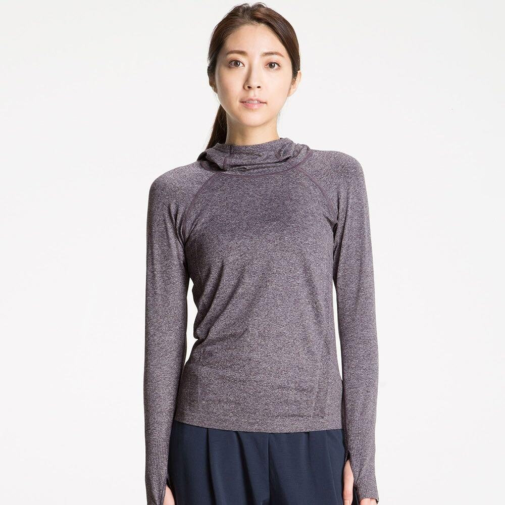 UNIQLO Seamless Long-Sleeve Hooded Pullover (Salt & Pepper) - XS