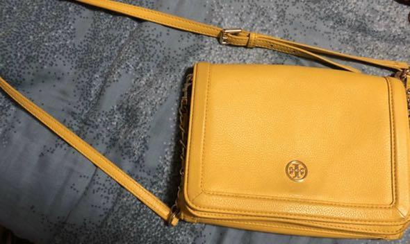 Used,80%new, authentic|Tory Burch Yellow Sling bag (from an individual who bought from China Coach Outlet)