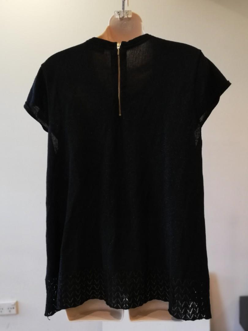 XL - Willis Clublife - Black Sparkling Glittery Short-Sleeve Party Top