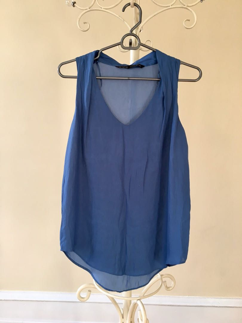Zara blue summer soft fabric sleeveless top blouse size 8