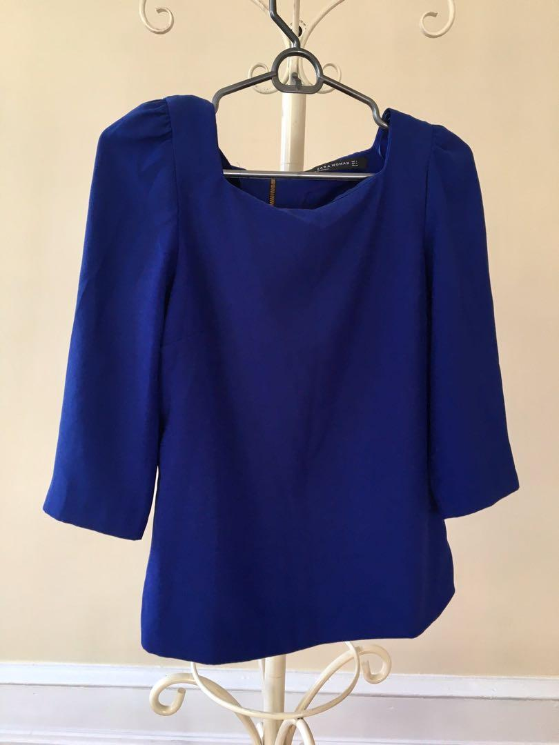 Zara cobalt blue navy sapphire square neckline slight princess sleeves work blouse top size 8