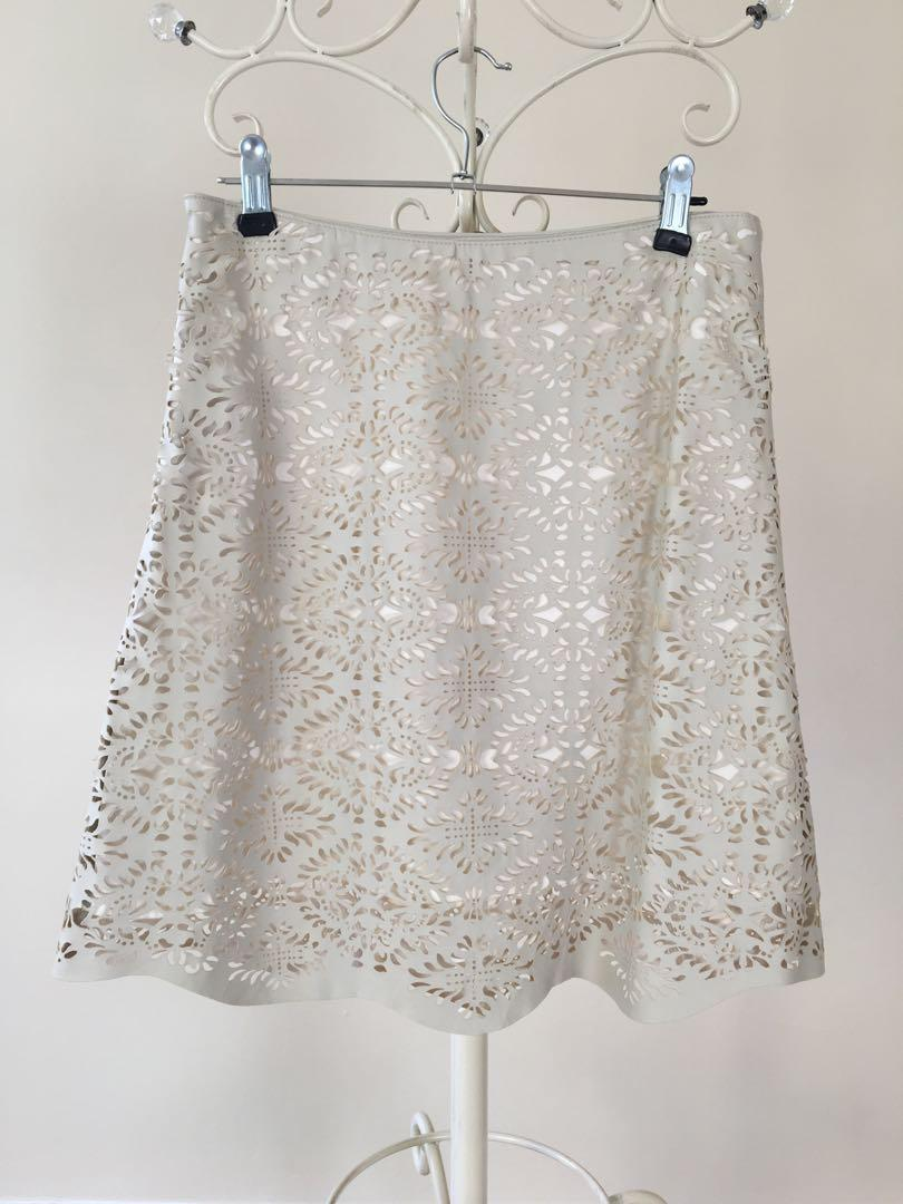 Zara faux white leather laser cut nude lace skirt summer spring size 8