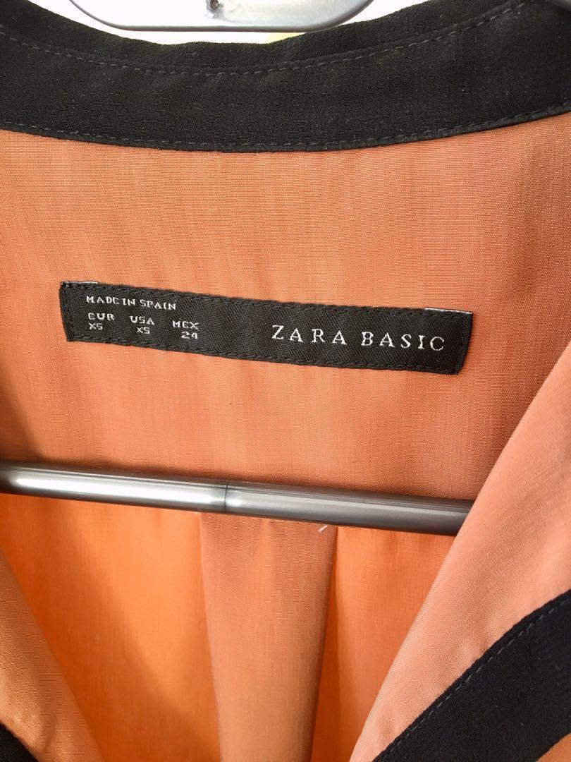 Zara pink red autumn rose black work shirt blouse top size 8