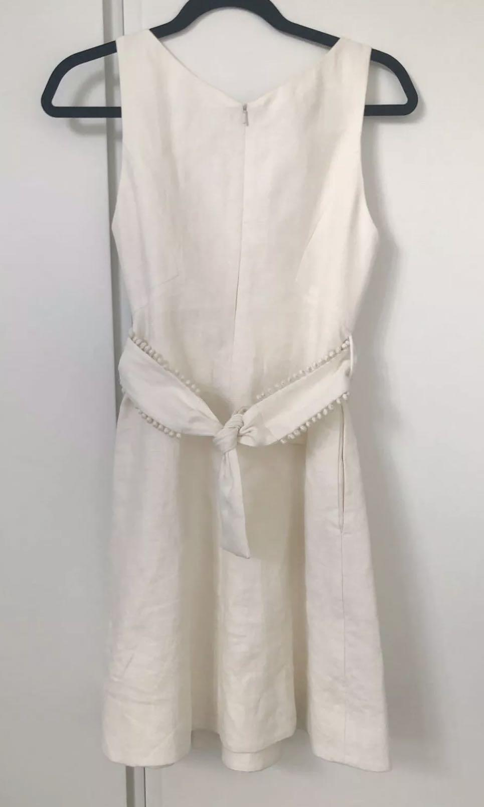 Zimmermann Painted Hearts Shifted Linen Dress in Cream Size 0 (6-8) RRP $550