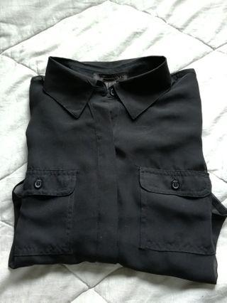 Sheer black crop blouse shirt | Forever 21