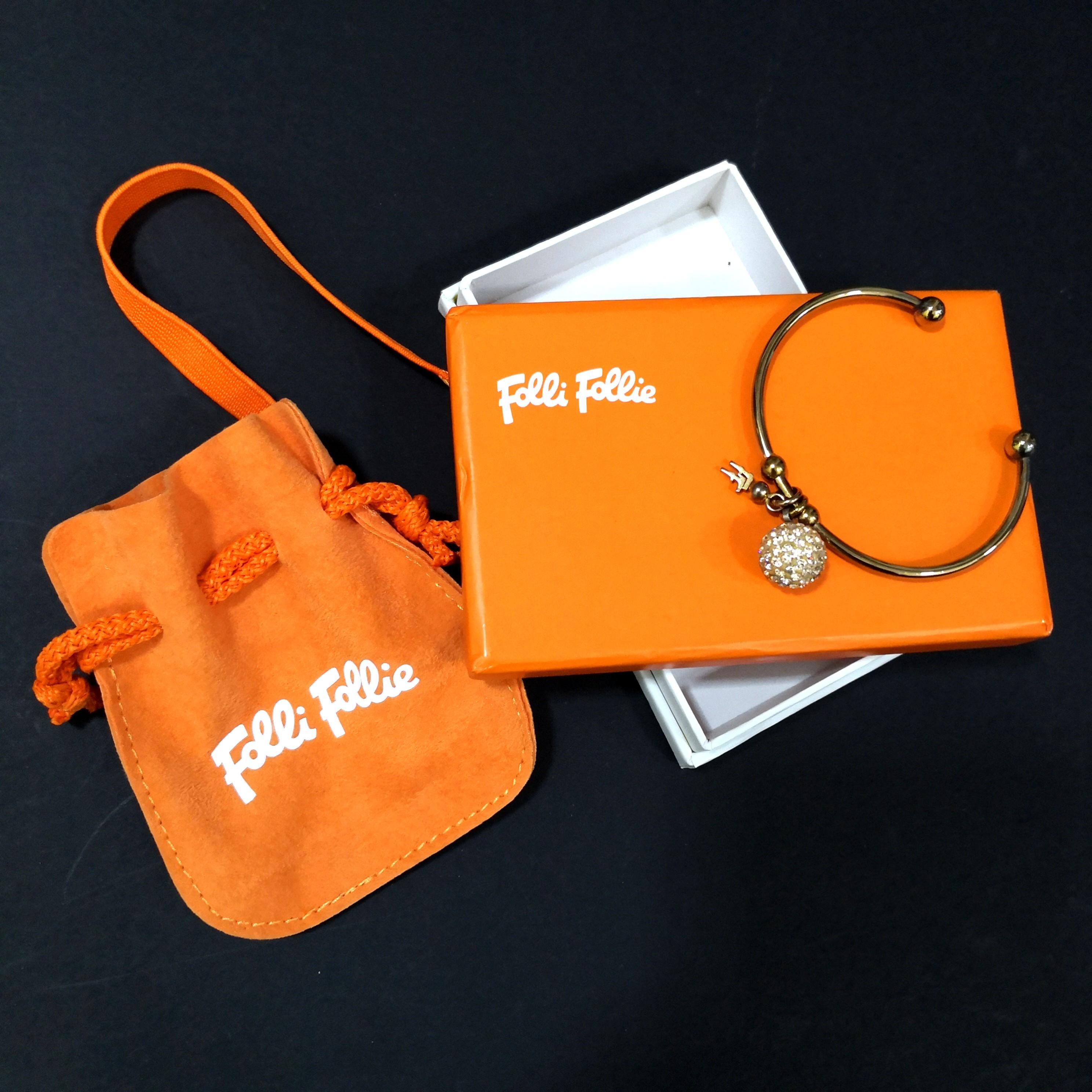 100% Authentic Folli Follie Rose Gold crystal ball bling bangle bracelet
