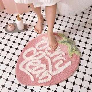 甜心粉草莓吸水地墊付贈止滑墊