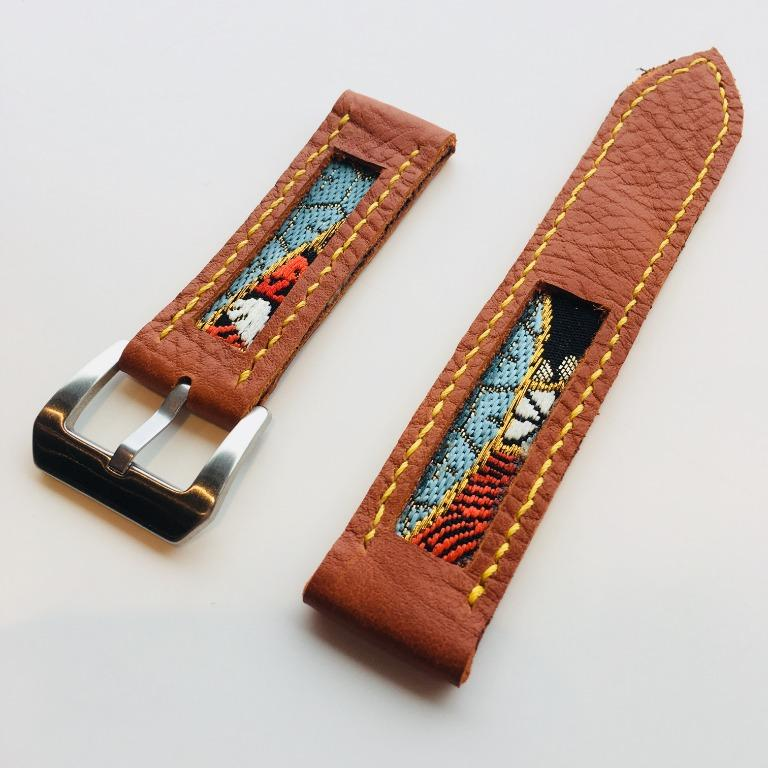 47Ronin#007 Leather watch strap with kimono fabric (22mm, Reddish brown leather, Blue, black, red, white & gold) Regular price Sold out