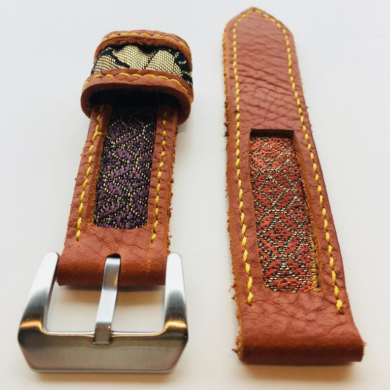 47Ronin#008 Leather watch strap with kimono fabric (22mm, Reddish brown leather, Red, purple, & gold)