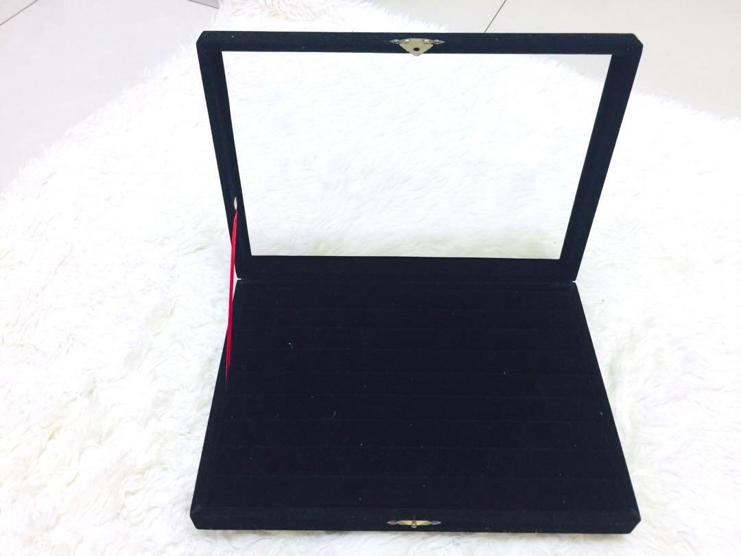 絨布珠寶首飾盒 :戒指 耳環  項鍊 飾品收納盒  擺攤展示盒 居家裝飾 防塵  非無印  ikea 宜得利
