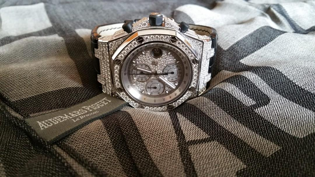 Audemars Piguet Royal Oak Offshore Chronograph in full 18k White Gold with factory setting diamonds