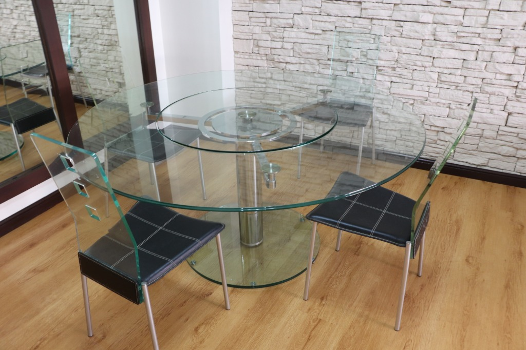 Dining Set Round Glass Table With 4 Chairs Home Furniture Furniture Fixtures Tables Chairs On Carousell
