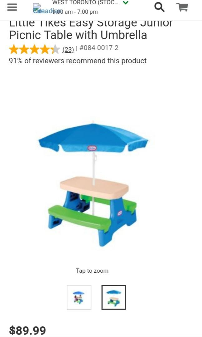 Little Tikes Easy Store Jr. Picnic table with Umbrella-Kids-Toys