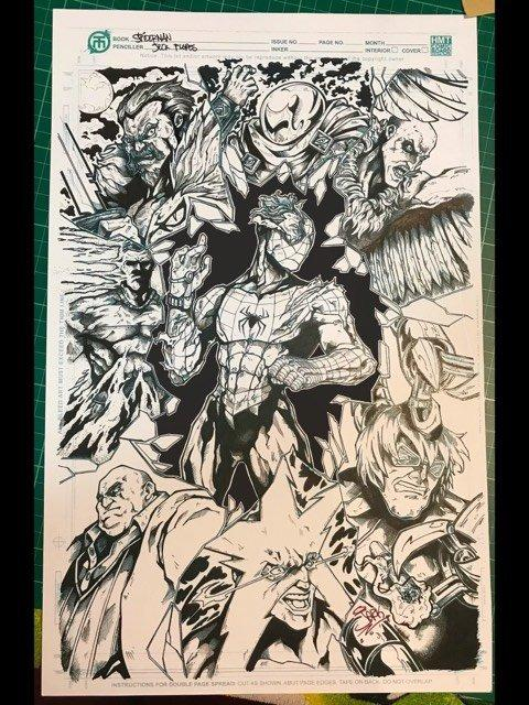 ORIGINAL ARTWORK COMMISSIONED ART SPIDER-MAN AND THE SINISTER 6 WITH KINGPIN