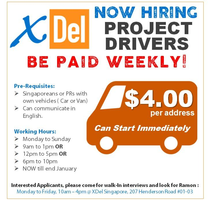 Part-Time Drivers with Own Vehicles (Now till end Jan)