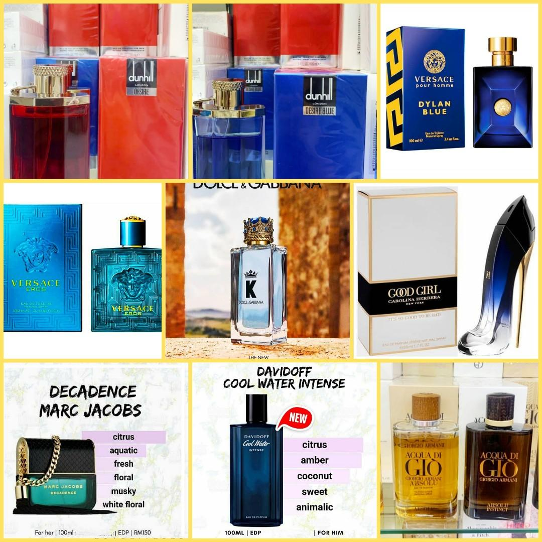 READY STOCK  ORIGINAL PERFUME FROM OVERSEA  EVERY 100ML PURCHASE WILL GET 20ML POCKET PERFUME(POSTAGE ONLY)