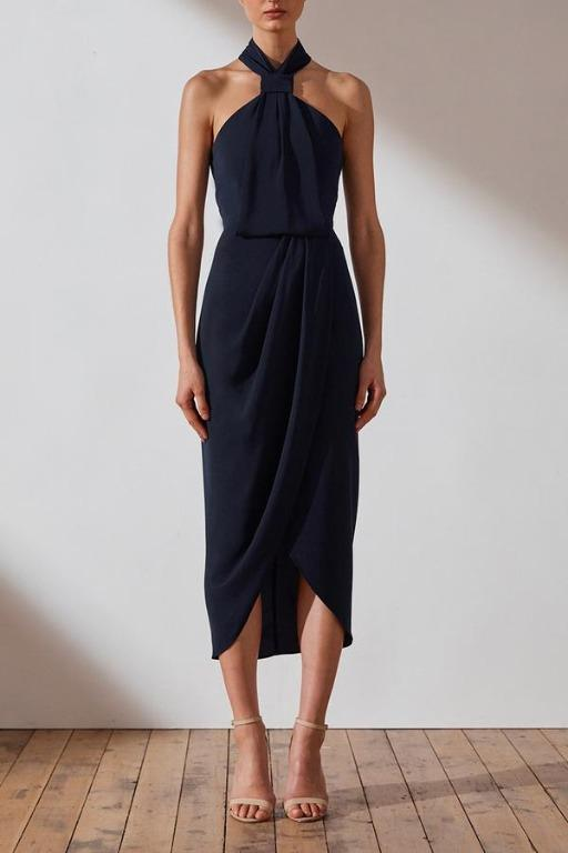 Shona Joy Core Knot Draped Dress Navy Size 8 - WORN ONCE!