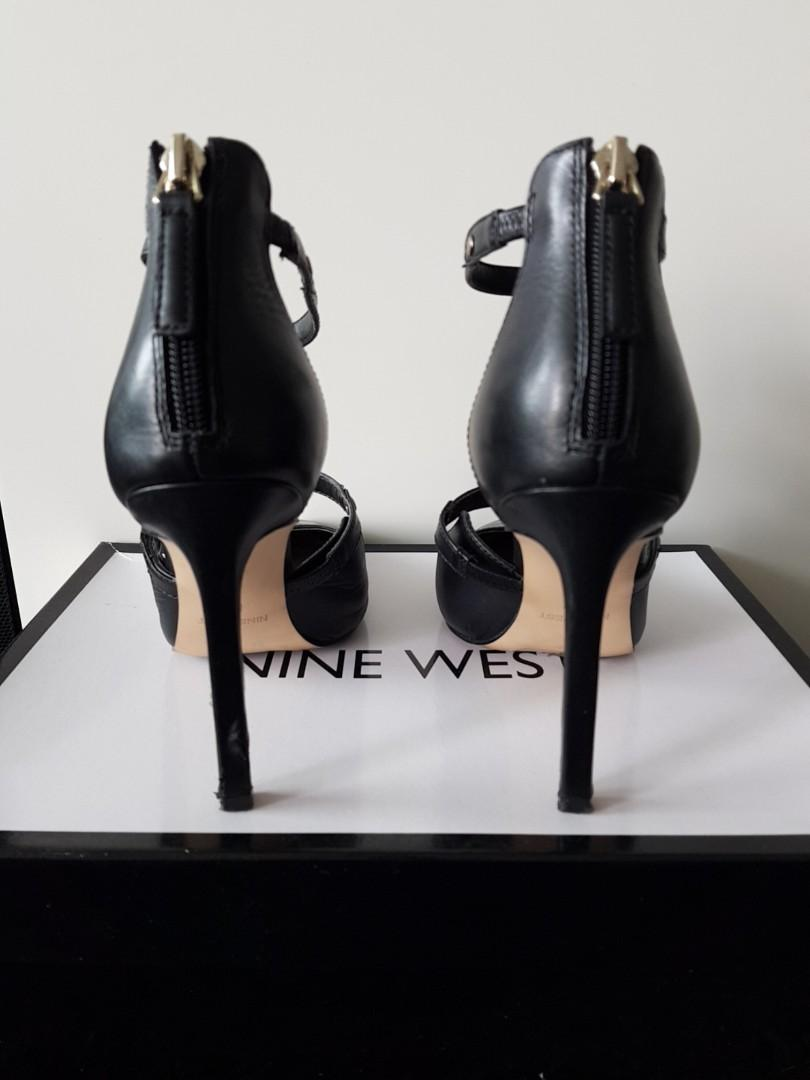NINE WEST Size 5.5 Black leather strapped stilleto pointed toe heels