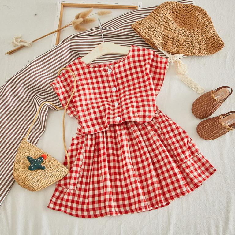 ✔️STOCK - 2pc BUTTON FRONT RED CHECKERED GINGHAM PRINT BLOUSE & SKIRT SET BABY TODDLER GIRLS KIDS CASUAL CHILDREN CLOTHING