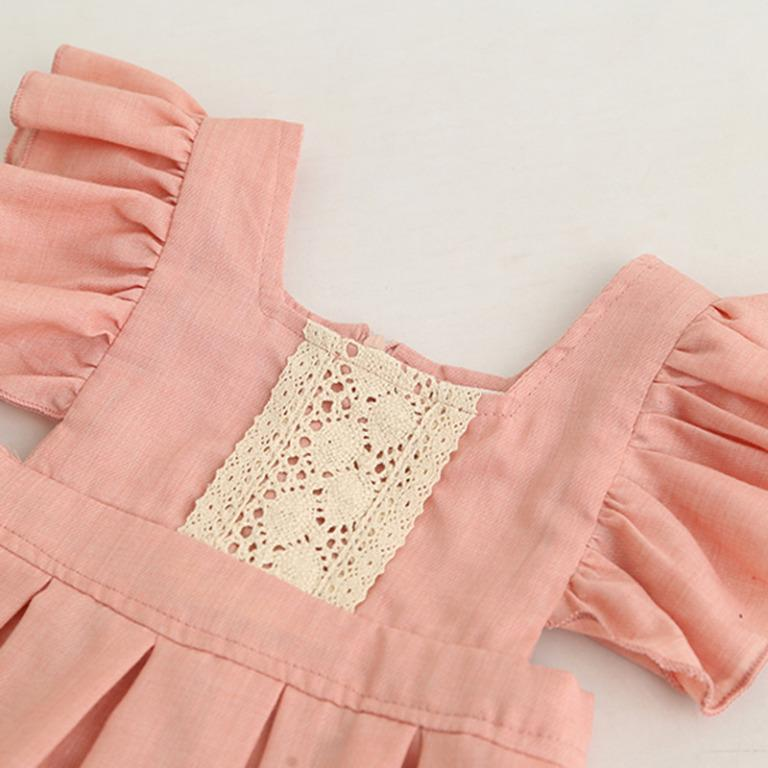 ✔️STOCK - PREMIUM VINTAGE LACE RUFFLED SLEEVES DUSTY PINK CASUAL FLARE DRESS TODDLER GIRLS KIDS CHILDREN CLOTHING