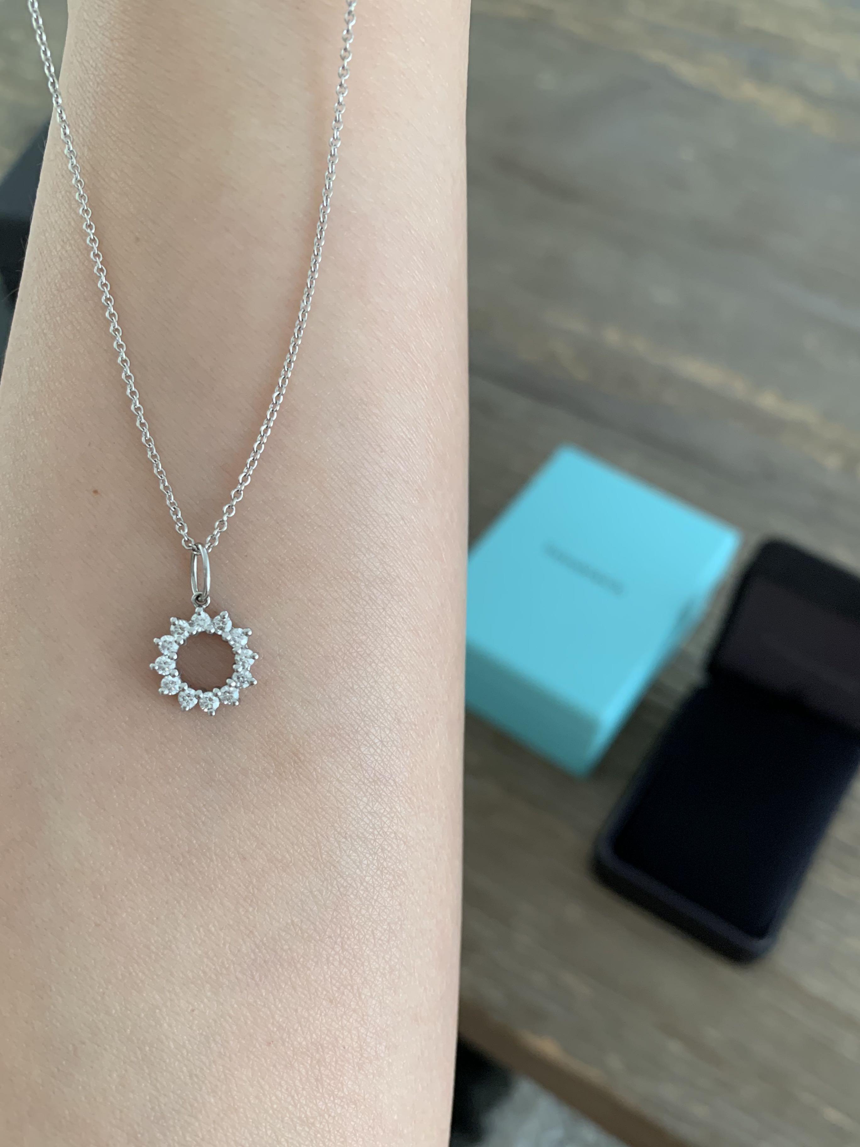 Tiffany & Co. Platinum Diamond Open Circle Pendant necklace