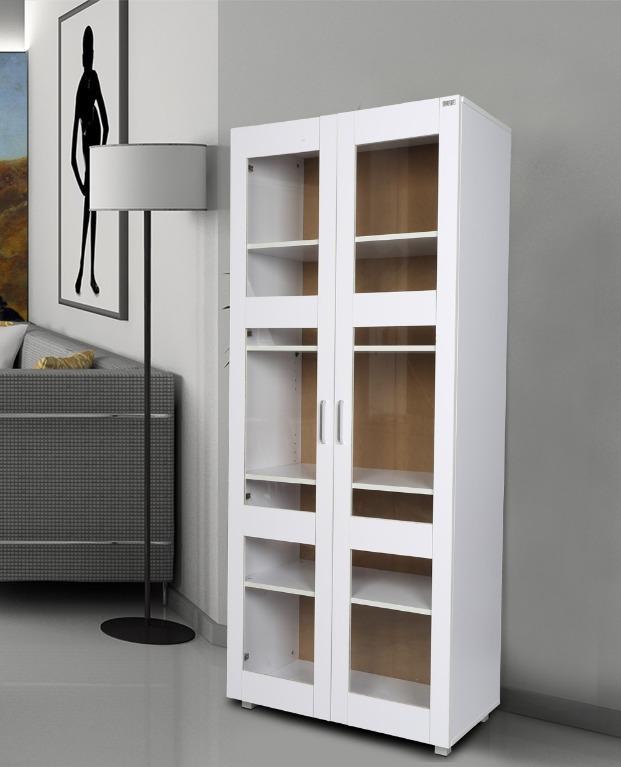 VALUE PACKAGE!!! Redfern 5 Tier BookShelf +Aspen Tall Cupboard (Black/White)