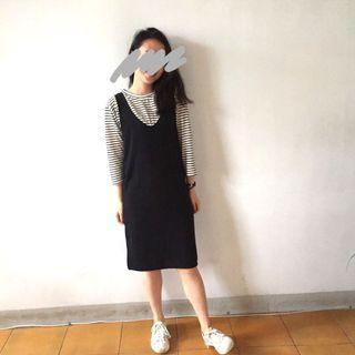 連身條紋裙