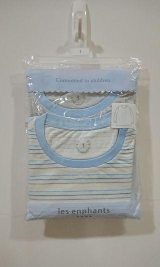 麗嬰房 免運 居家長袖上衣 條紋小象棉質睡衣兩件 嬰童童裝 全新現貨12M Lesenphants