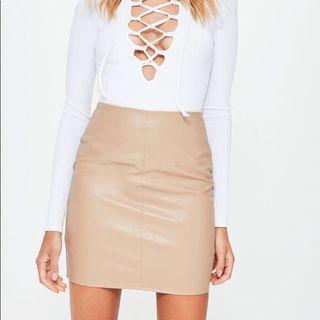 Nude leather skirt