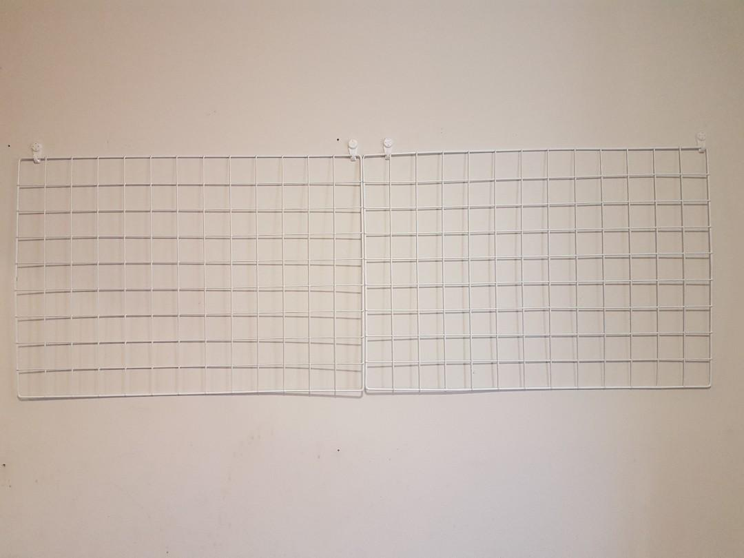 $20 IF PICKED UP, Two White Wire Wall Panels / Metal Grid Organizers