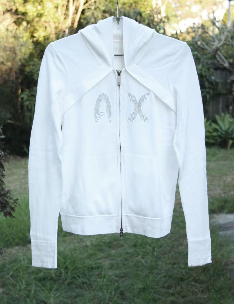 Armani Exchange Ladies Hoodie Zip-up Jackets in White Size Medium