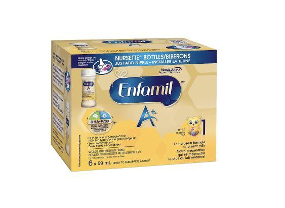Enfamil A+ Infant Formula Ready to Feed Nursette Bottles 6x59ML