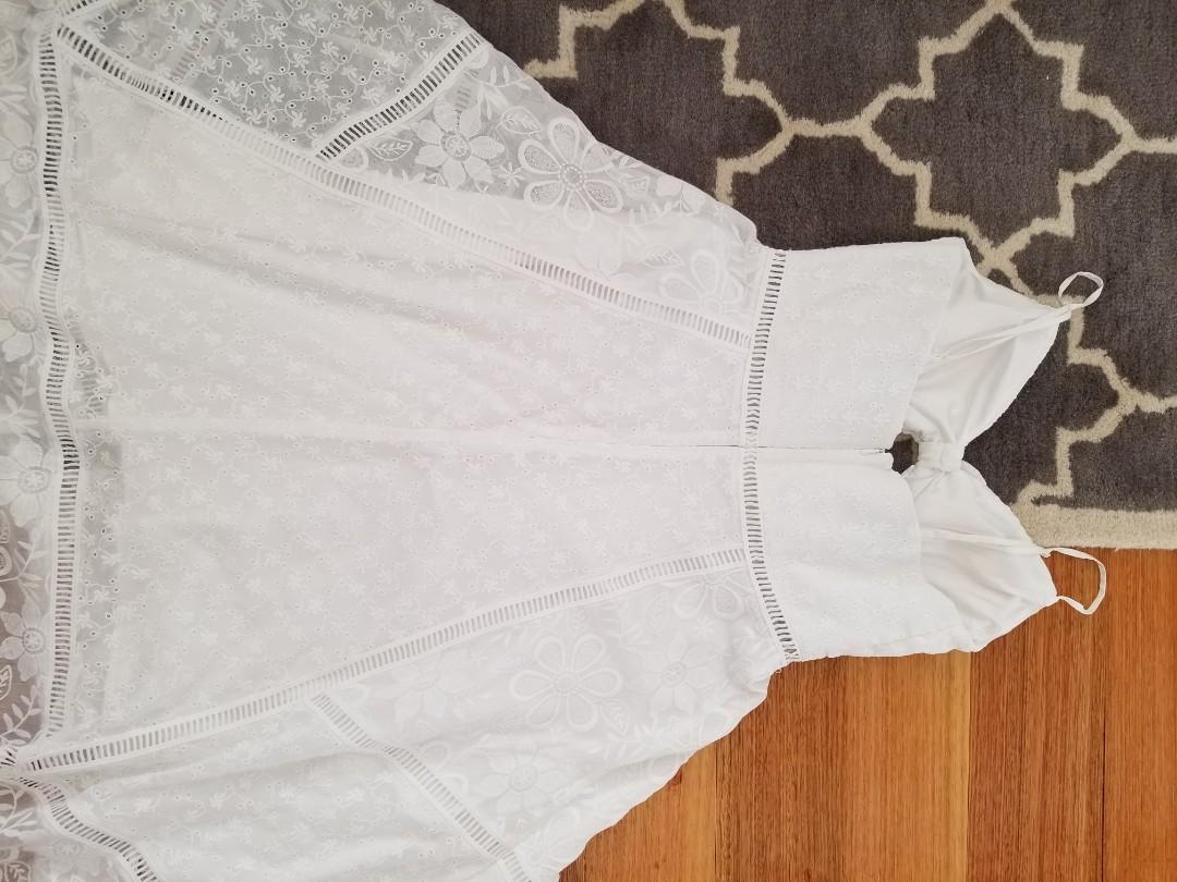 Forever New white broderie anglais midi dress size 10