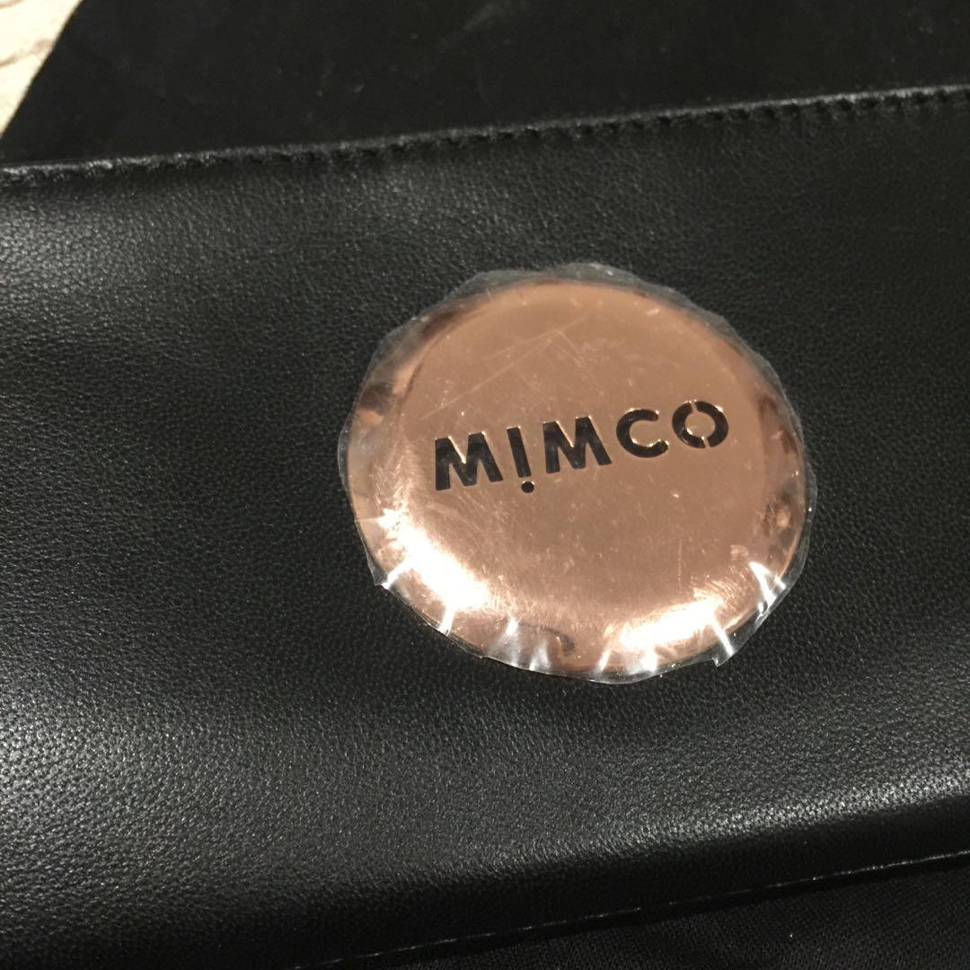 Mimco Fold Wallet (Black & Rose gold hardware) long