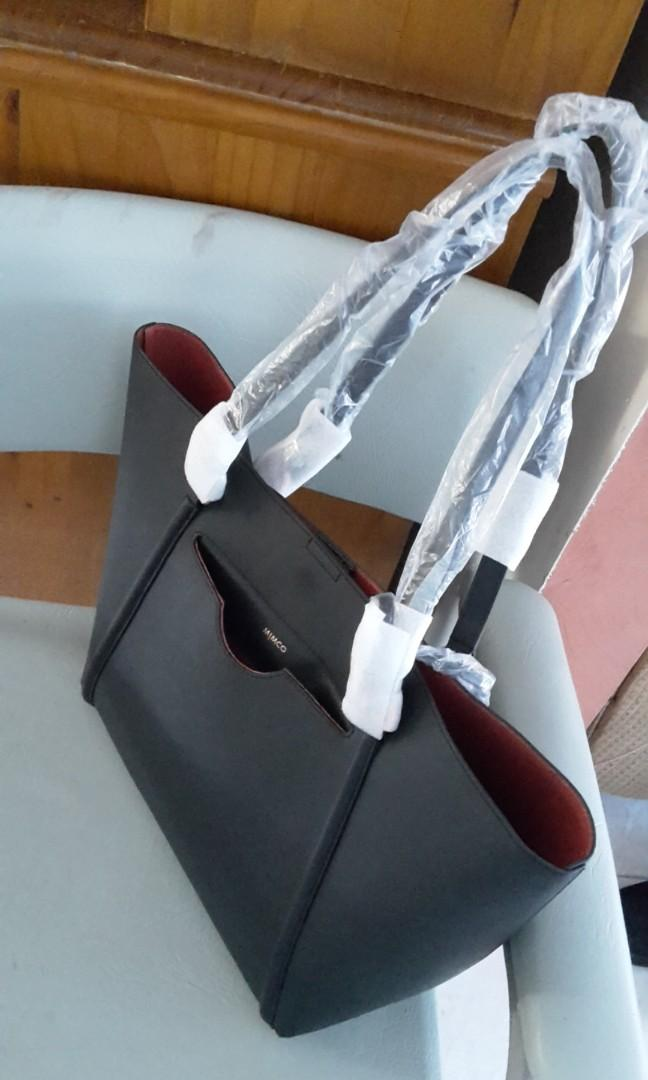 Mimco LARGE Phenomena Tote Handbag Saffiano Leather Black