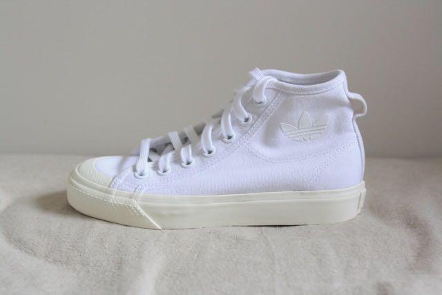 NEW adidas Nizza Hi Sneakers in White US4.5, UK4, F36 2/3