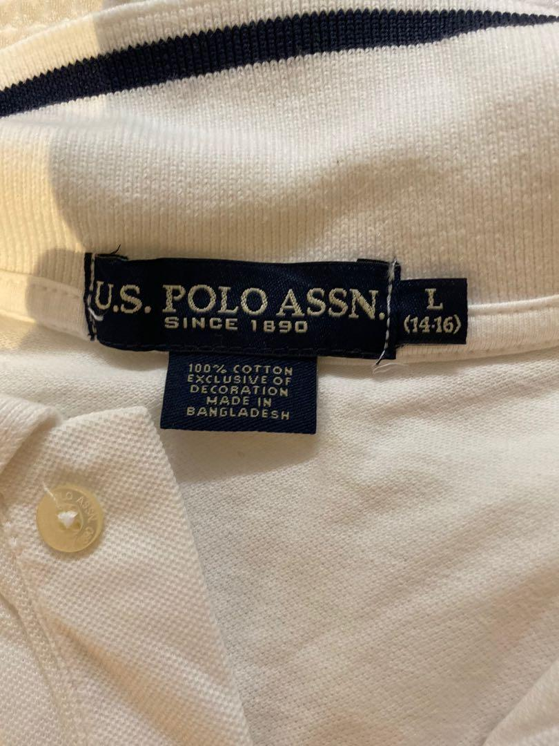 (One or two) White and Navy blue Polo Assn.  top (L, 14-16)