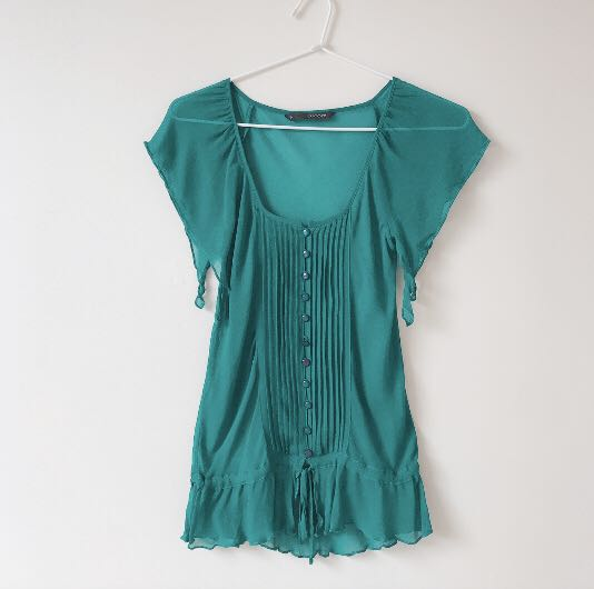 Teal Sheer chiffon drawstring waistline top size S