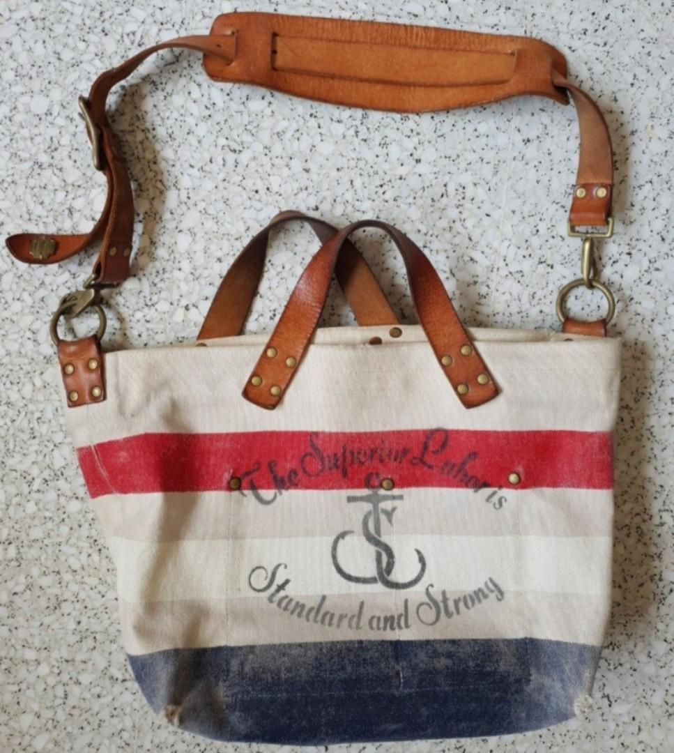 THE SUPERIOR LABOR LEATHERS & CO.  JAPAN HANDMADE 2 WAY CANVAS TOTE SLING BAG biker motorcycle