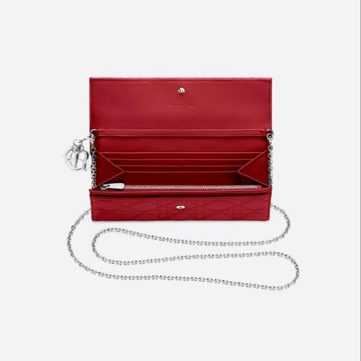 ♥️VALENTINE'S SPECIAL! Authentic Lady Dior Croisiere Wallet in Red Patent Cannage Calfskin