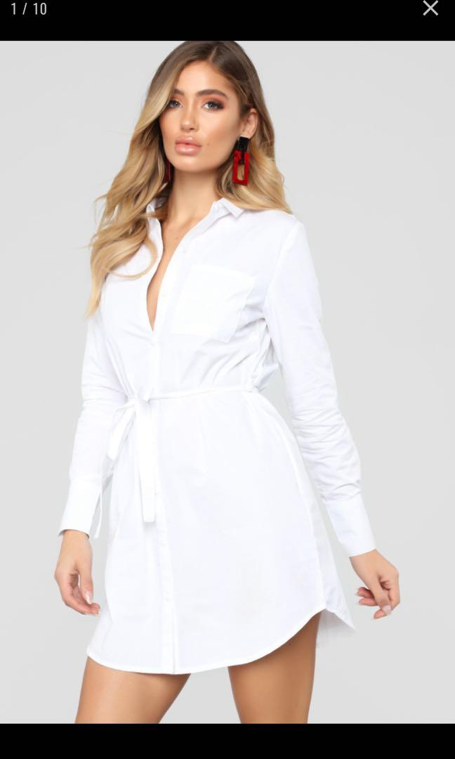 White XS Fashion Nova Shirt Wrap Dress with Buttons