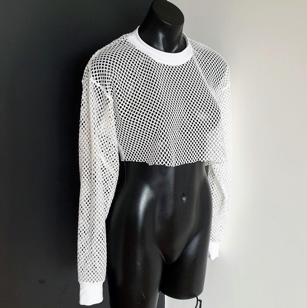 Women's size 6 'WATSON X WATSON' Gorgeous white cropped mesh long sleeve top - AS NEW