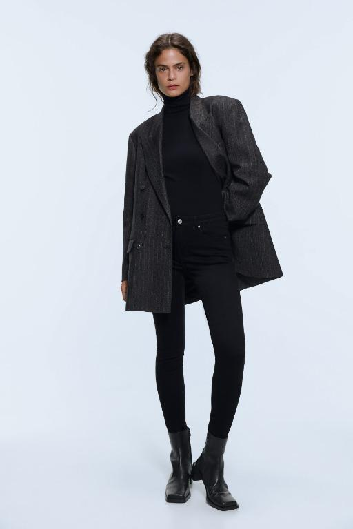 Zara ZW Premium Skinny Stay Black Modal Jeans 2 (26)