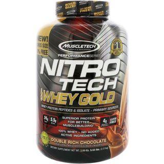 🇺🇸Sports Nutrition Muscletech NITRO-TECH 100% Whey Gold Double Rich Chocolate(5.53lbs)新上市*美國熱銷肌肉科技金牌乳清蛋白