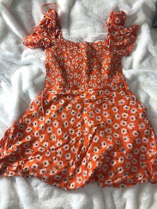 Orange Zara floral dress