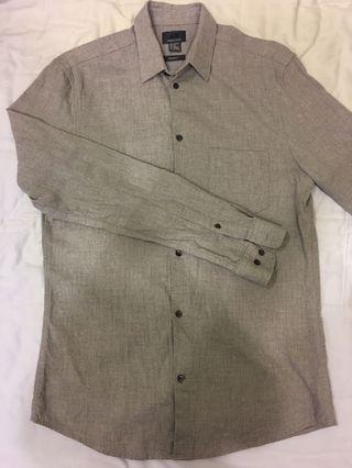 H&M淺灰色襯衫(男版s,適合正式場合穿搭)
